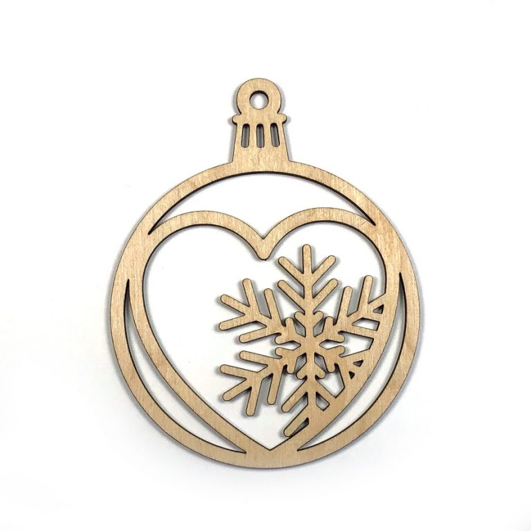 Heart with Snowflake Laser Cut Unfinished Wood Christmas Ornament