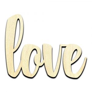 Love Word Laser Cut Out Unfinished Wood Shape Craft Supply